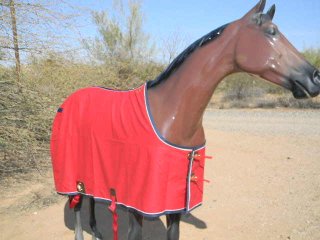 Big D Cotton Canvas  Stable Sheet Red w/blue trim & white piping