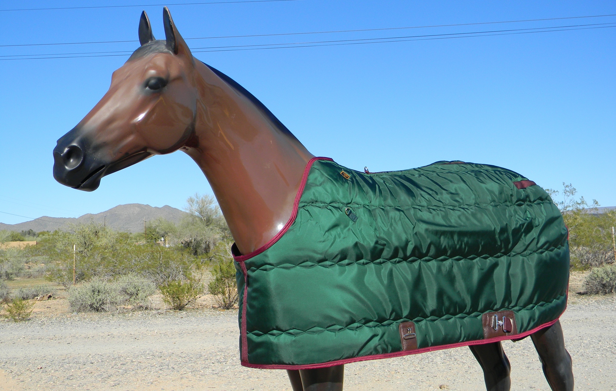 """Big D Kodiak Blanket forest green w/maroon trim closed front only sizes 66"""",68"""",70"""""""