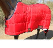 Big D Kodiak custom Blanket red w/navy trim &amp; White piping open front