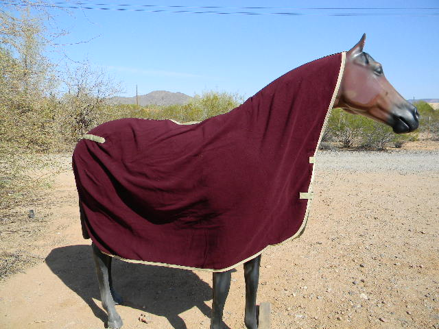 "Big D Polar Fleece Cooler Maroon w/Beige trim size 84""x90"" only"